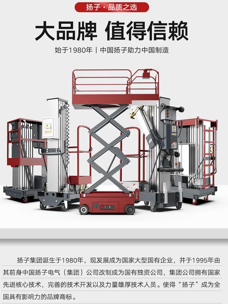 扬子升降平台直立式高配双柱铝合金 升降平台直立式高配双柱铝合金8米